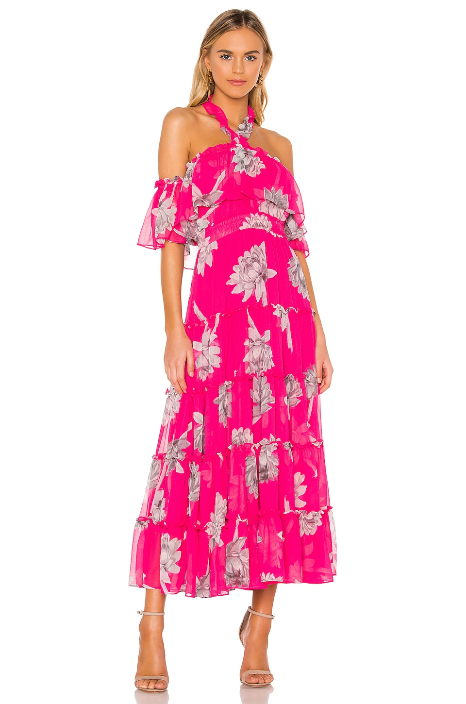 MISA Los Angeles X REVOLVE Mila Dress in Fuchsia Floral