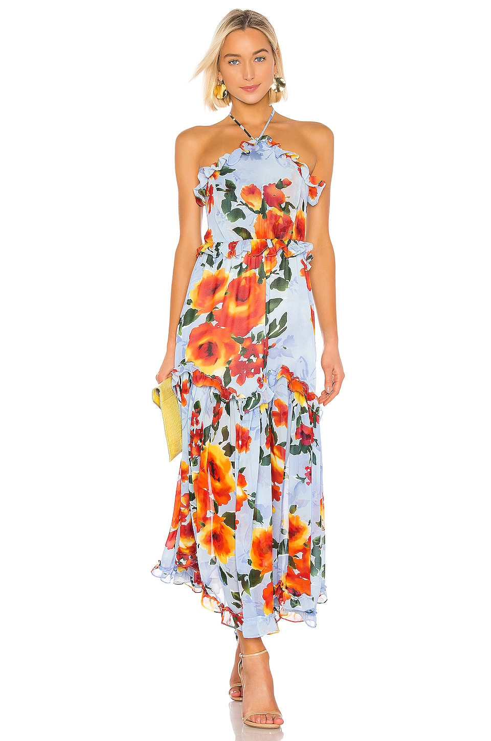 MISA Los Angeles Dallin Dress in Blue Multi Floral