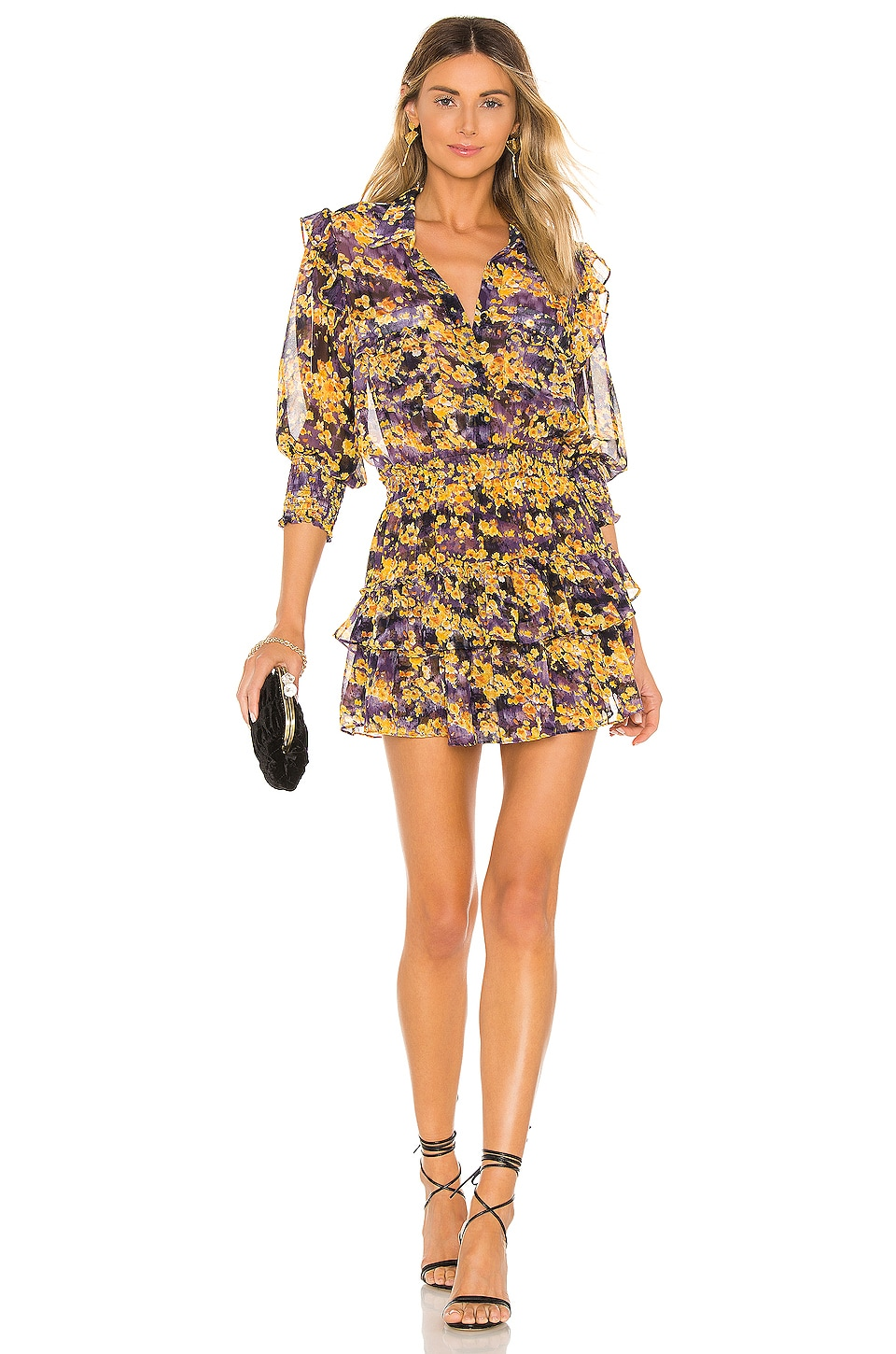 MISA Los Angeles Riona Dress in Purple Yellow Floral