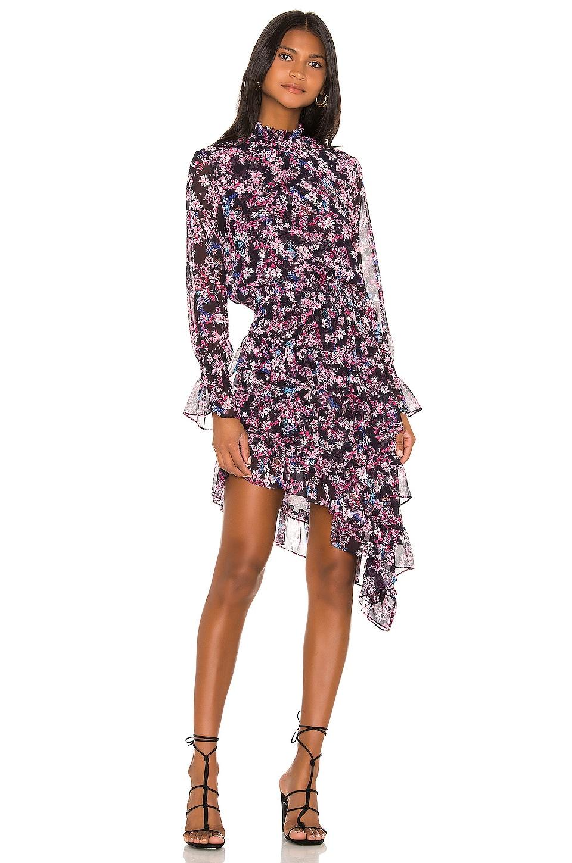 MISA Los Angeles X REVOLVE Savanna Asymmetrical Mini Dress in Ditsy Multi