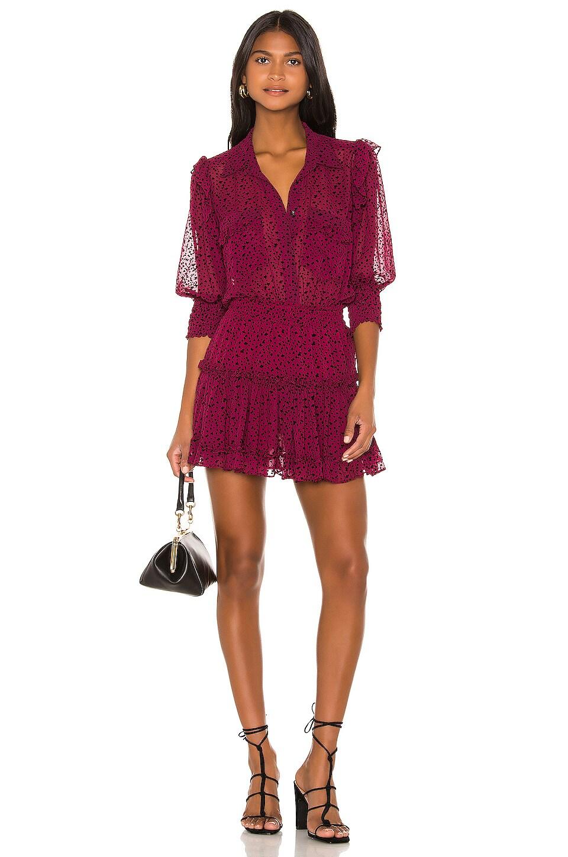 MISA Los Angeles X REVOLVE Lillian Dress in Red Velvet Burnout