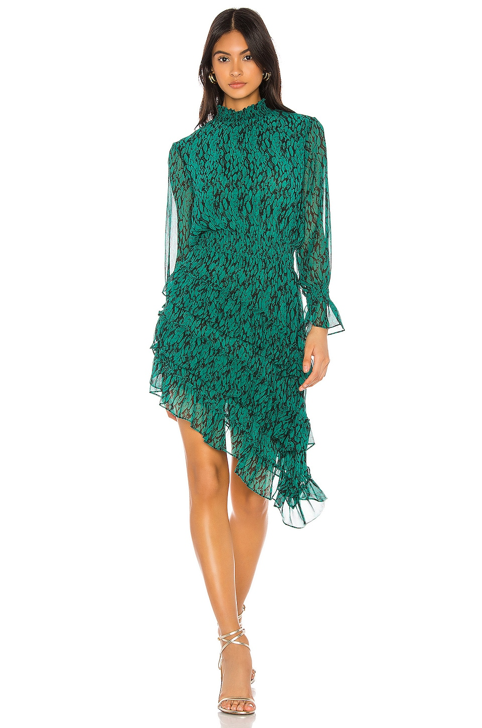 MISA Los Angeles X REVOVLE Savanna Dress in Emerald Snake