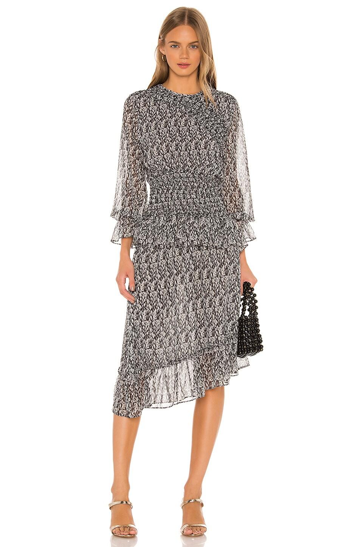 MISA Los Angeles Sophia Smocked Dress in Grey Snake