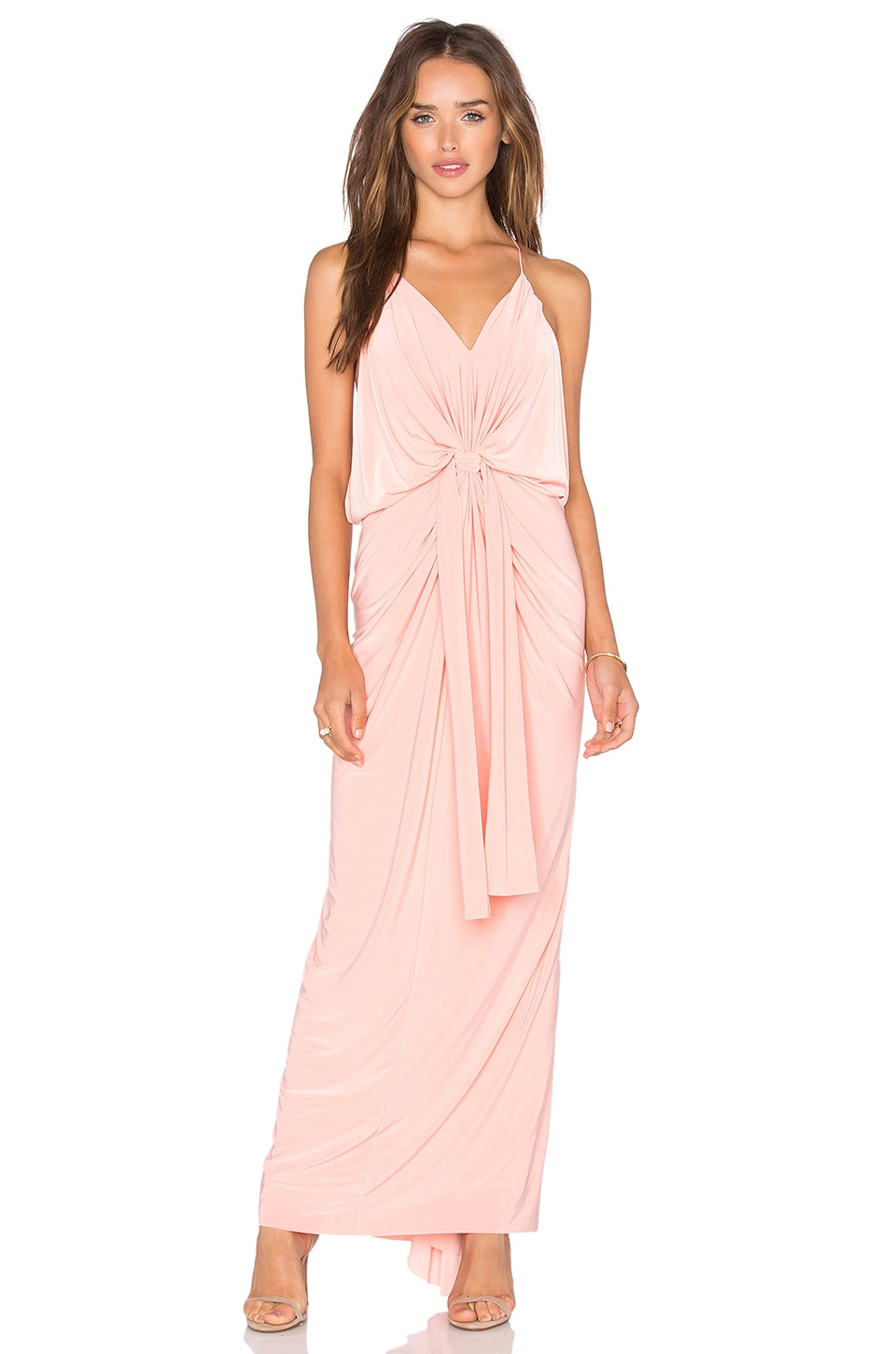 MISA Los Angeles Domino Tie Front Maxi Dress in Blush