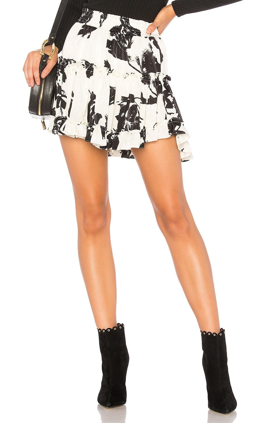 MISA Los Angeles Marion Skirt in White Floral