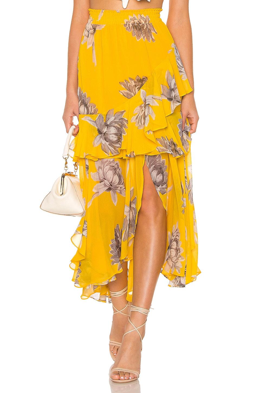 MISA Los Angeles Randi Skirt in Floral Yellow