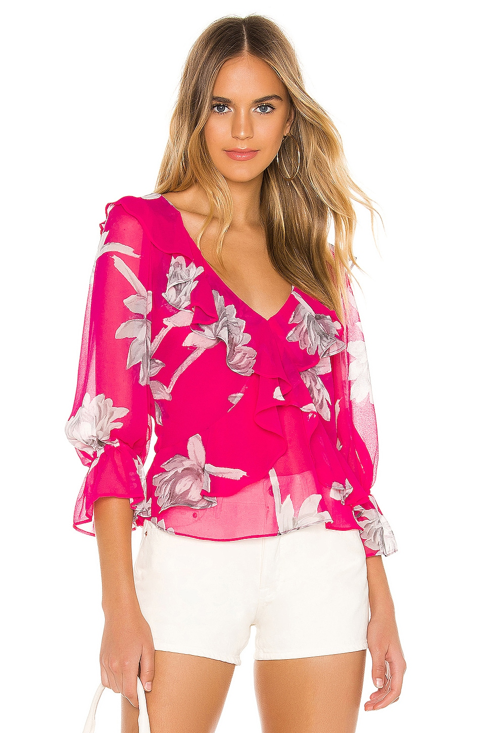 MISA Los Angeles X REVOLVE Lilyanna Top in Fuchsia Floral
