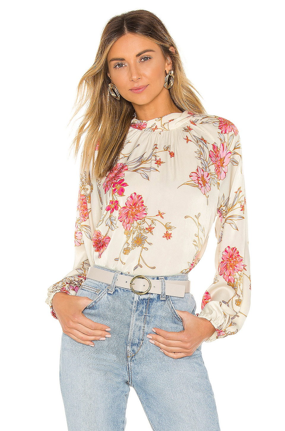 MISA Los Angeles Thea Blouse in Ivory Floral