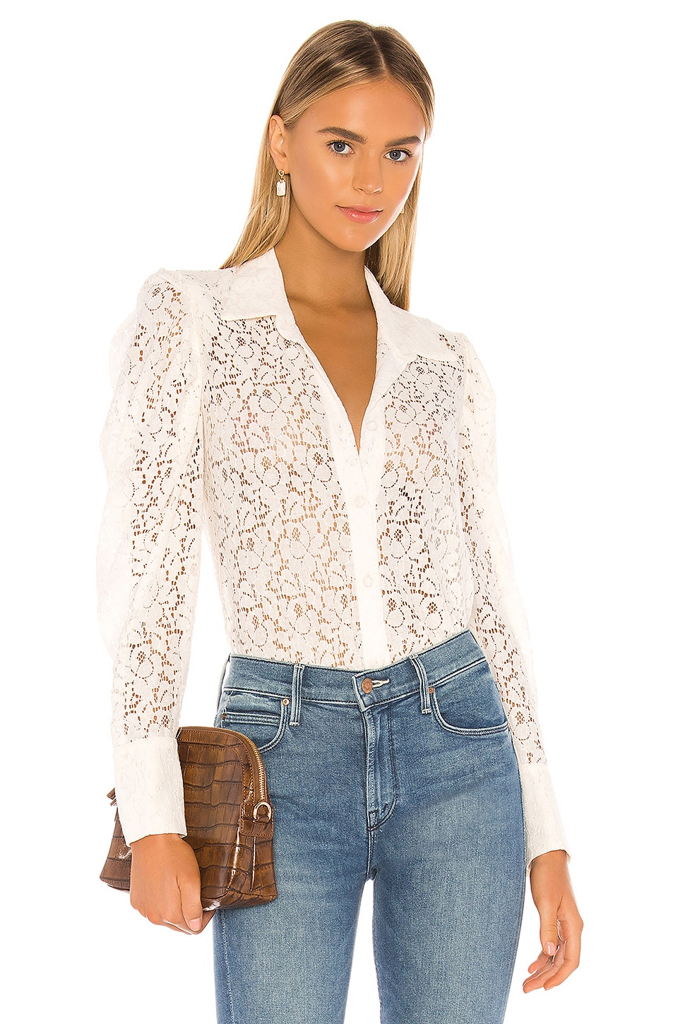 MISA Los Angeles Patrina Top in Floral Lace