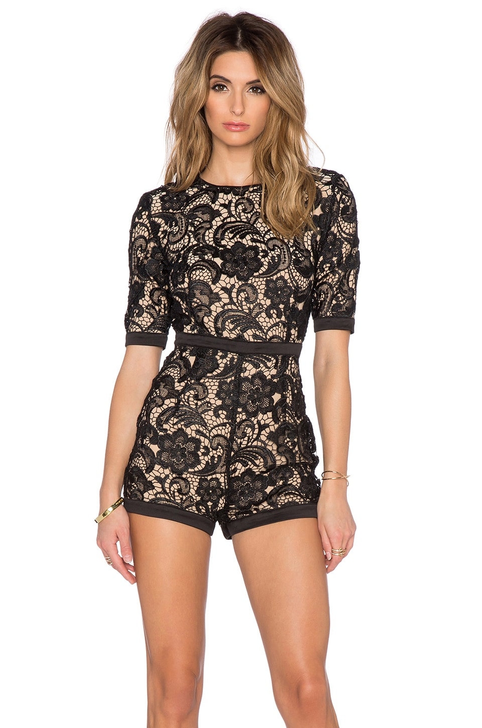 ca987b2924f Misha Collection Aria Playsuit in Black   Nude
