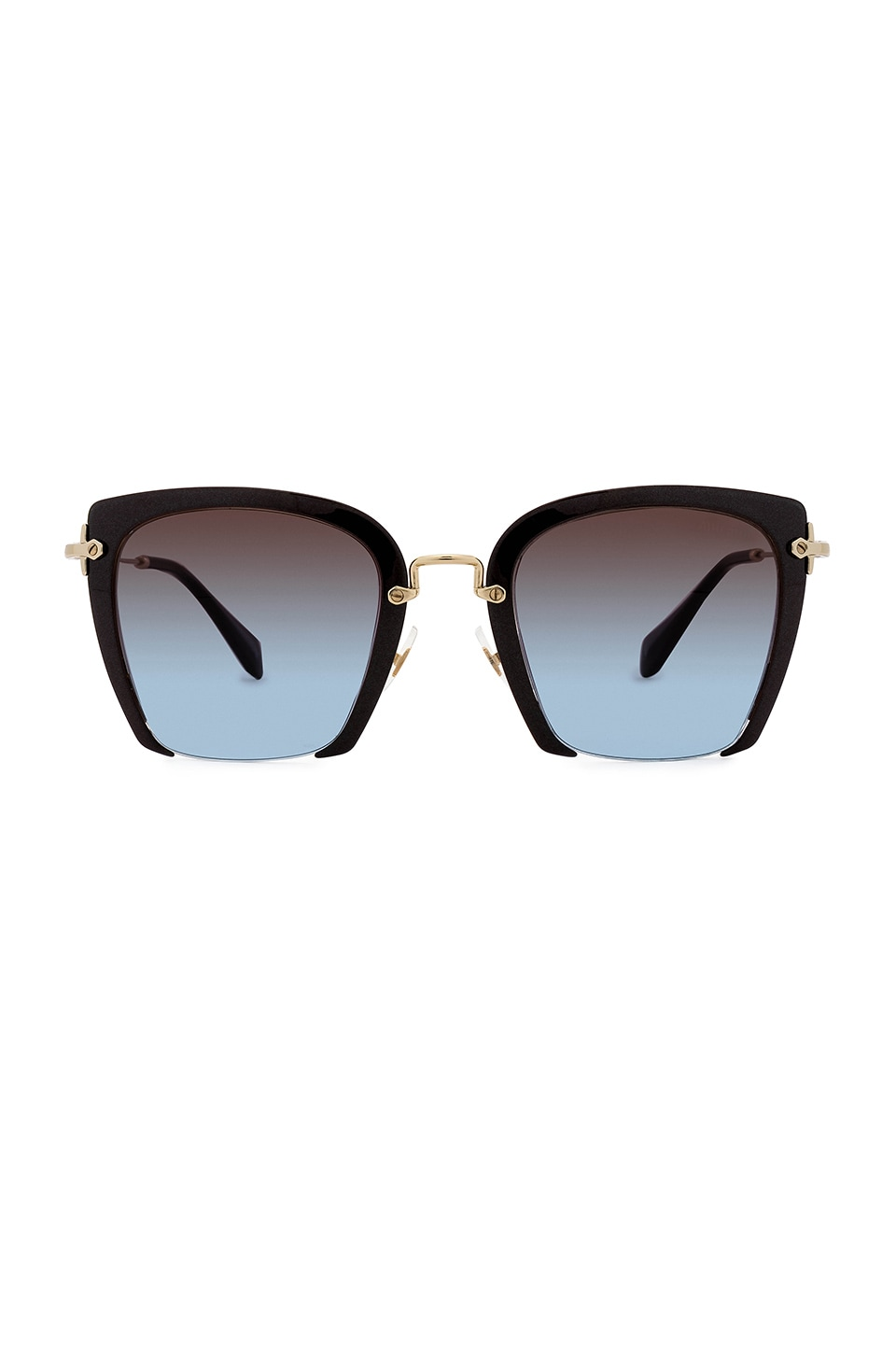 Miu Miu Rasoir Square in Glitter Brown & Azure Pink Brown Gradient