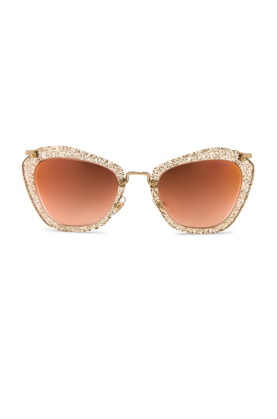 Miu Miu Glitter Geometric Square in Glitter Gold & Gradient Pink Mirror