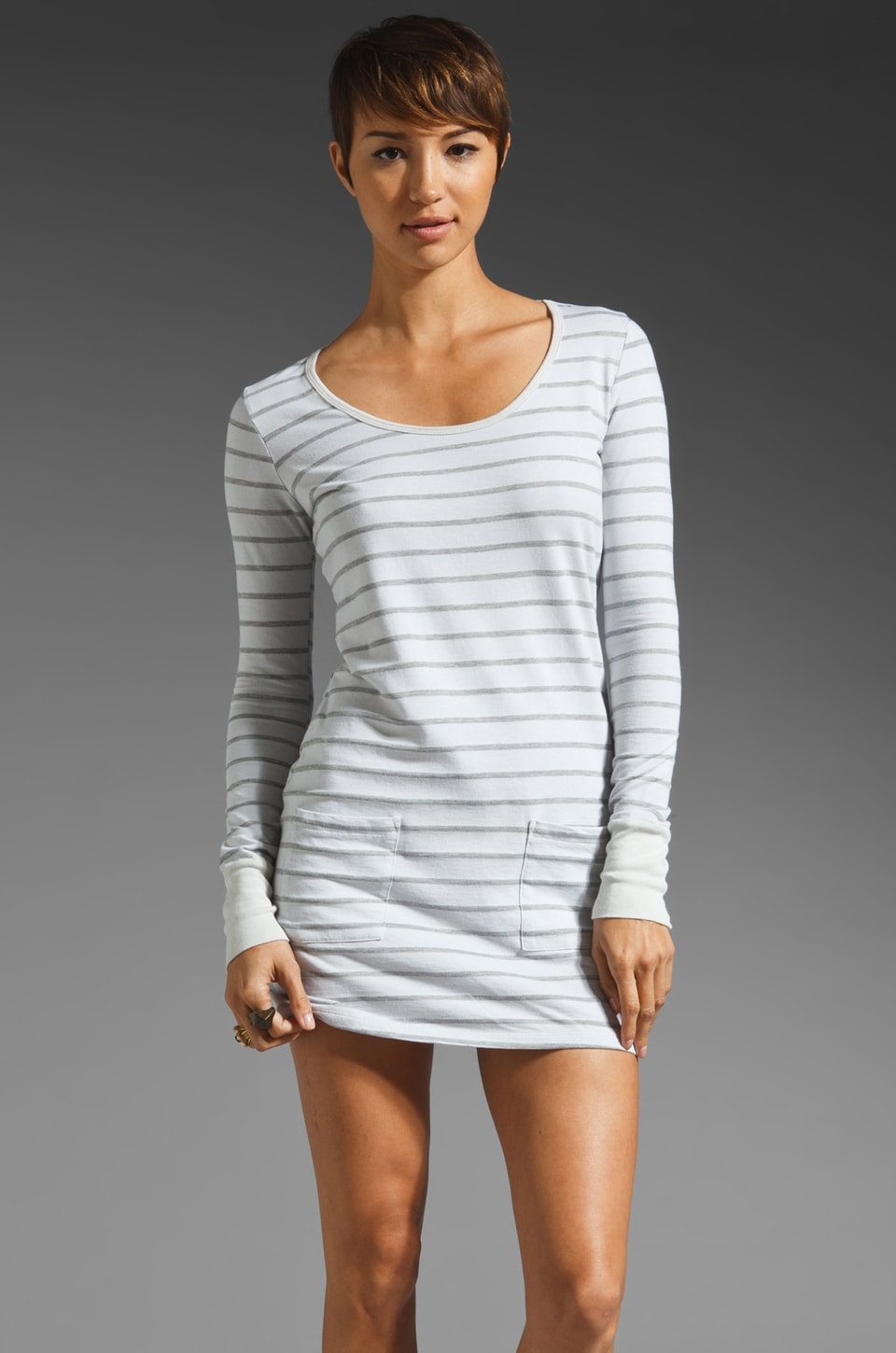 Market French Terry Stripe Long Sleeve Pocket Front Dress in Dust
