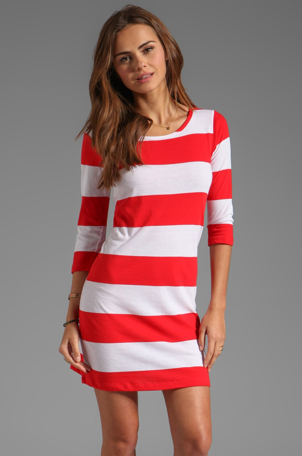 Market Wide Stripe Adriana Dress in Red/White