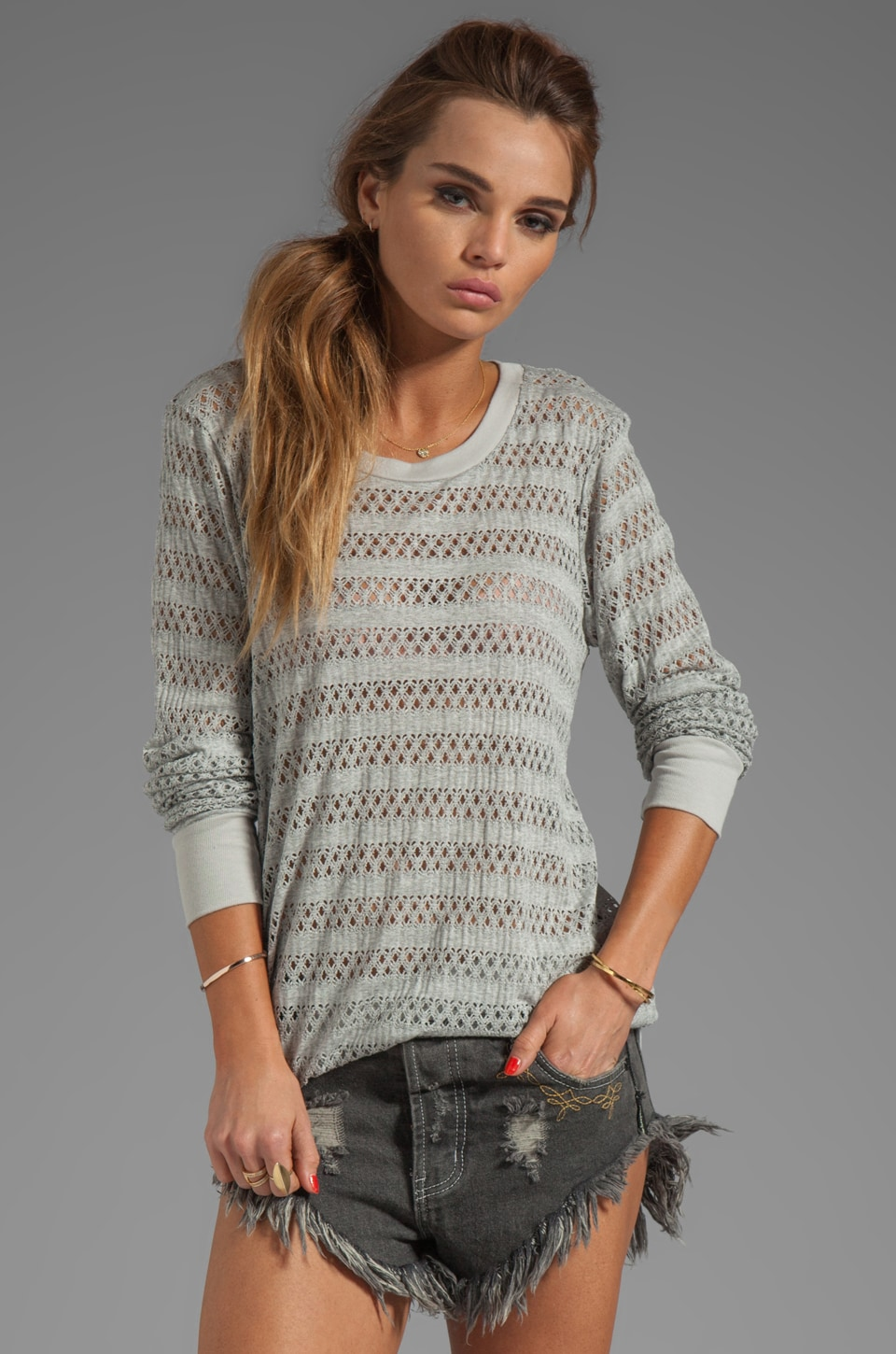 Market Crochet Carine Sweater in Heather Grey