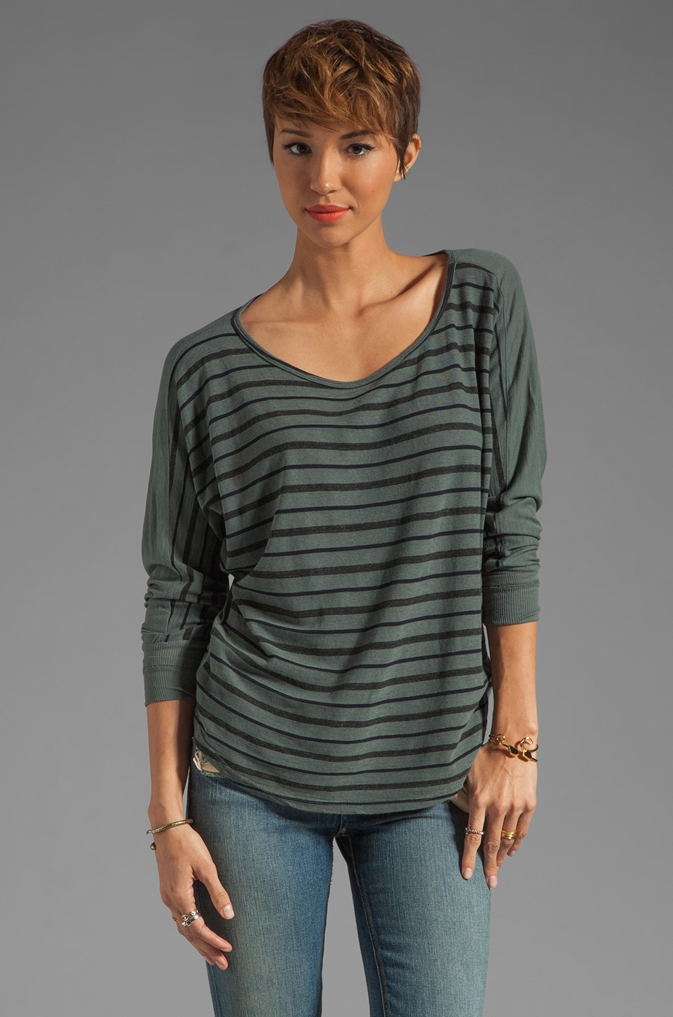 Market Onyx Stripe Frida Sweater in Kohl