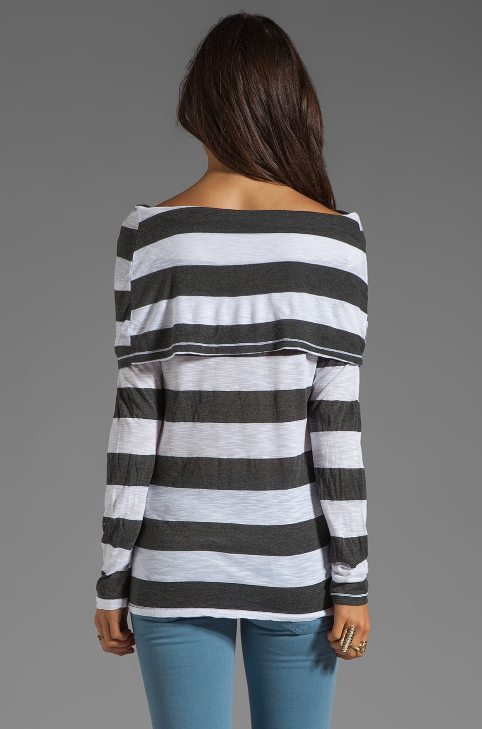 Market Charcoal Stripe Elsa Top in White