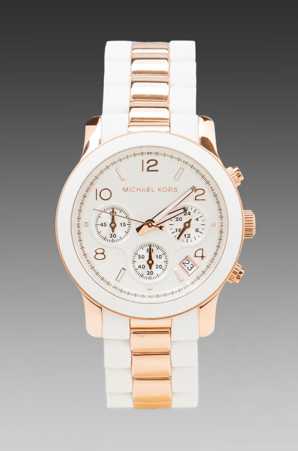 Michael Kors Runway Chronograph Watch in White/Rose Gold