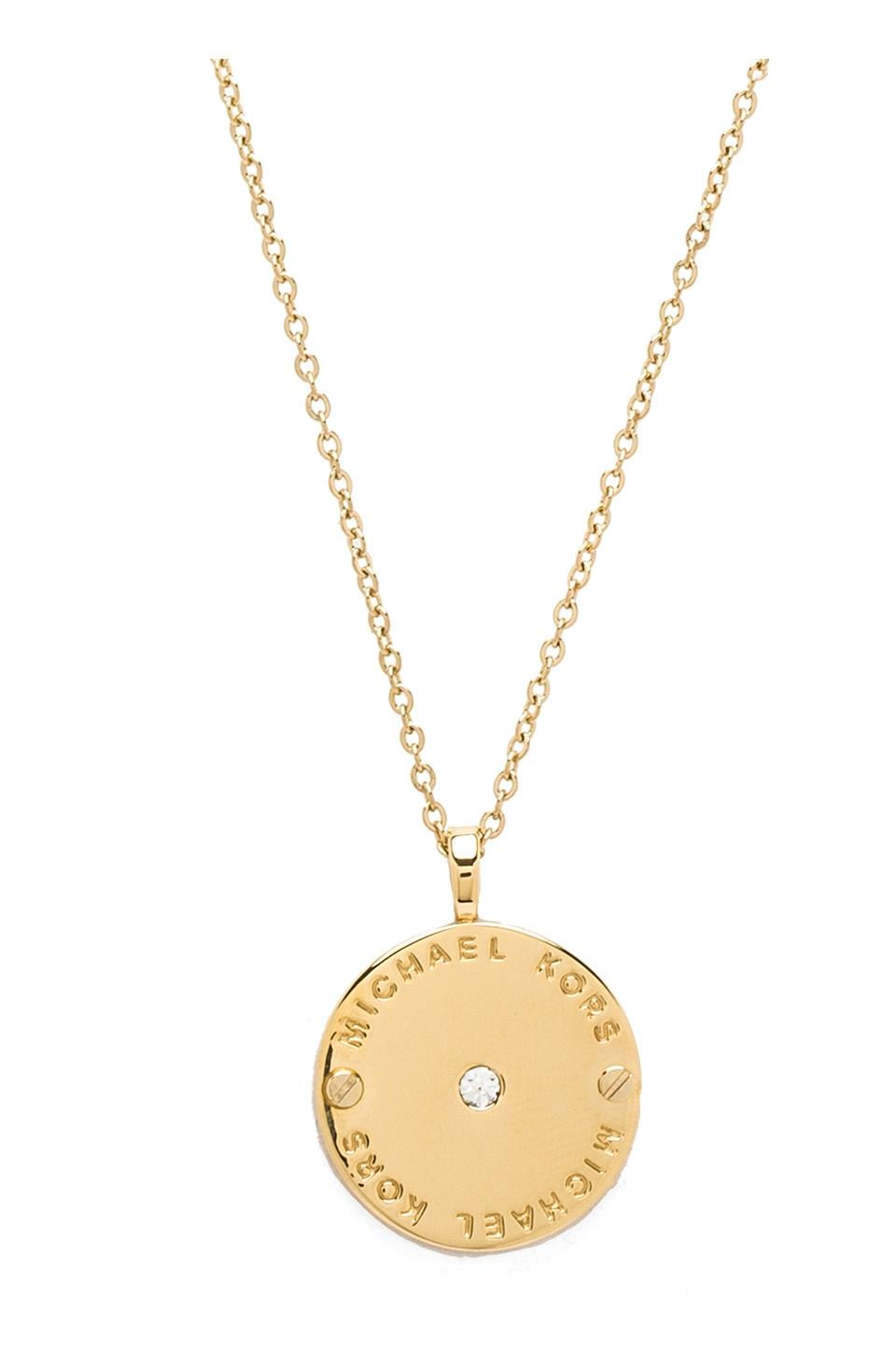 Michael Kors Disc Necklace in Gold
