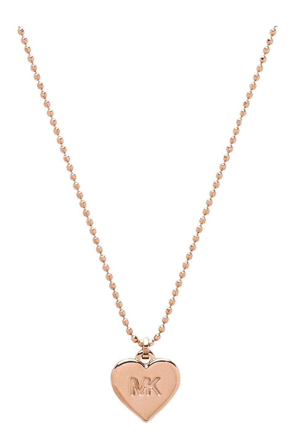 Michael Kors Small Heart Charm Necklace in Rose Gold