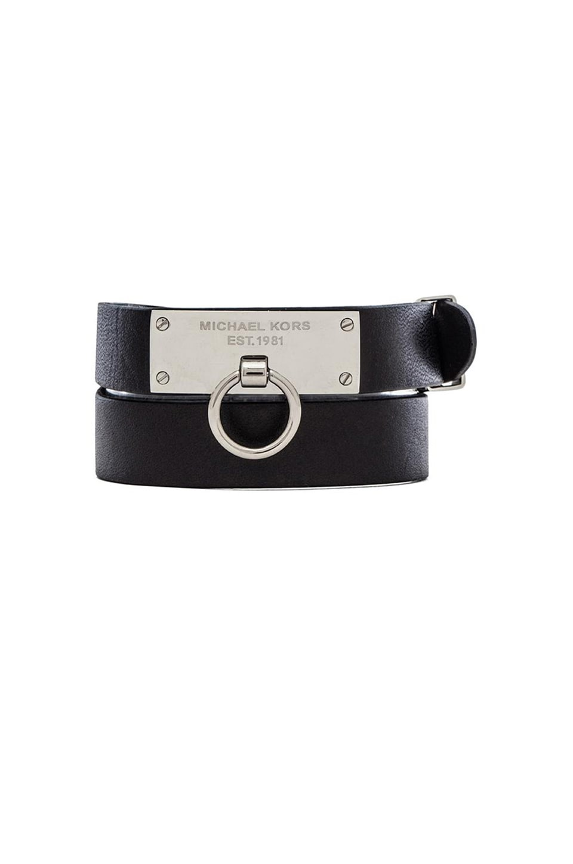 Michael Kors Leather Wrap Bracelet in Silver & Black