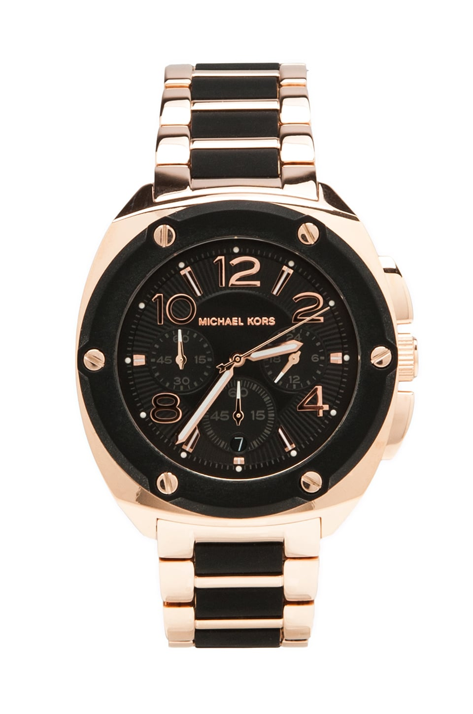 Michael Kors Tribeca Chronograph Watch in Black/Rosegold