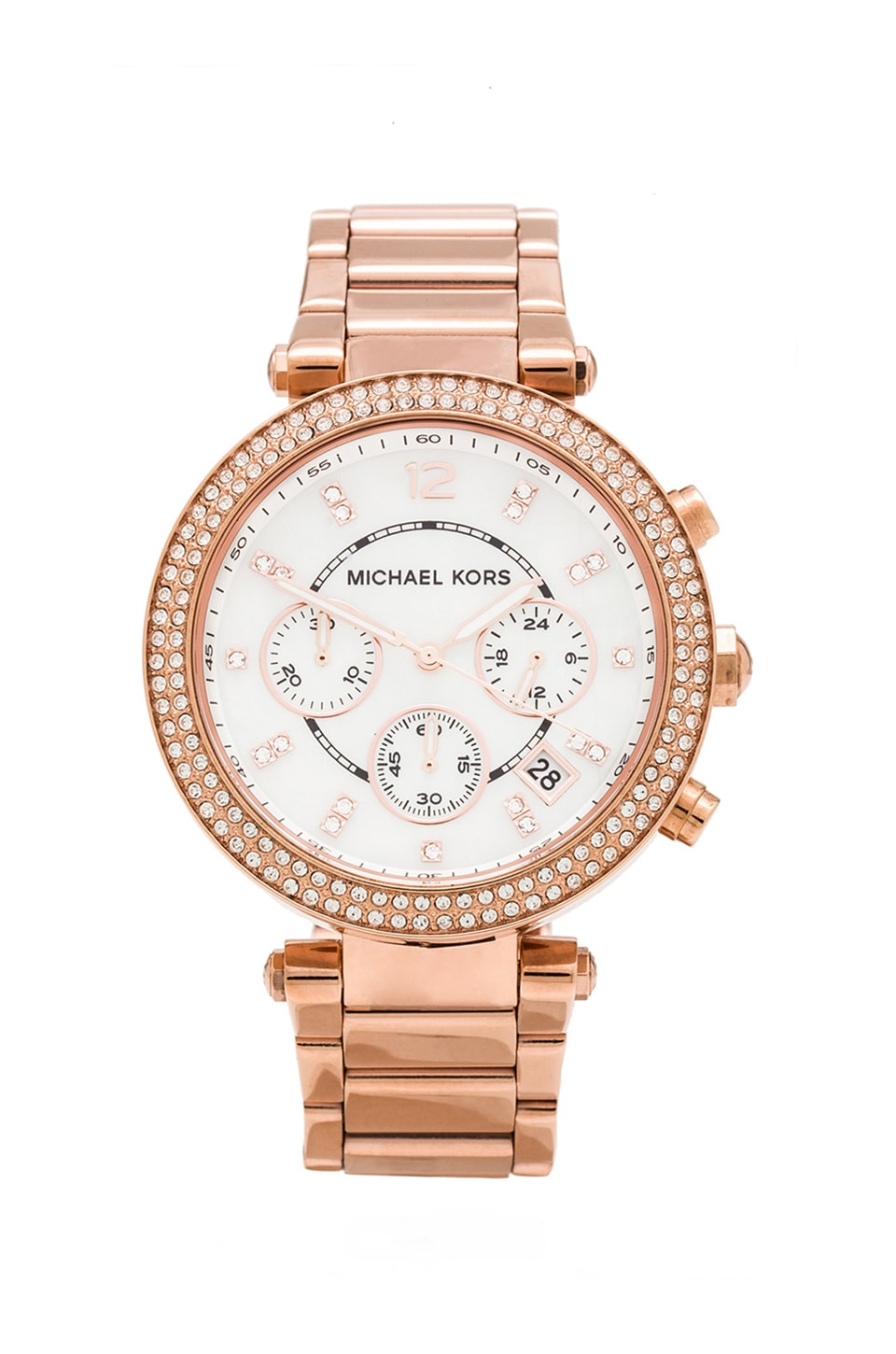 michael kors parker watch in rose gold revolve. Black Bedroom Furniture Sets. Home Design Ideas