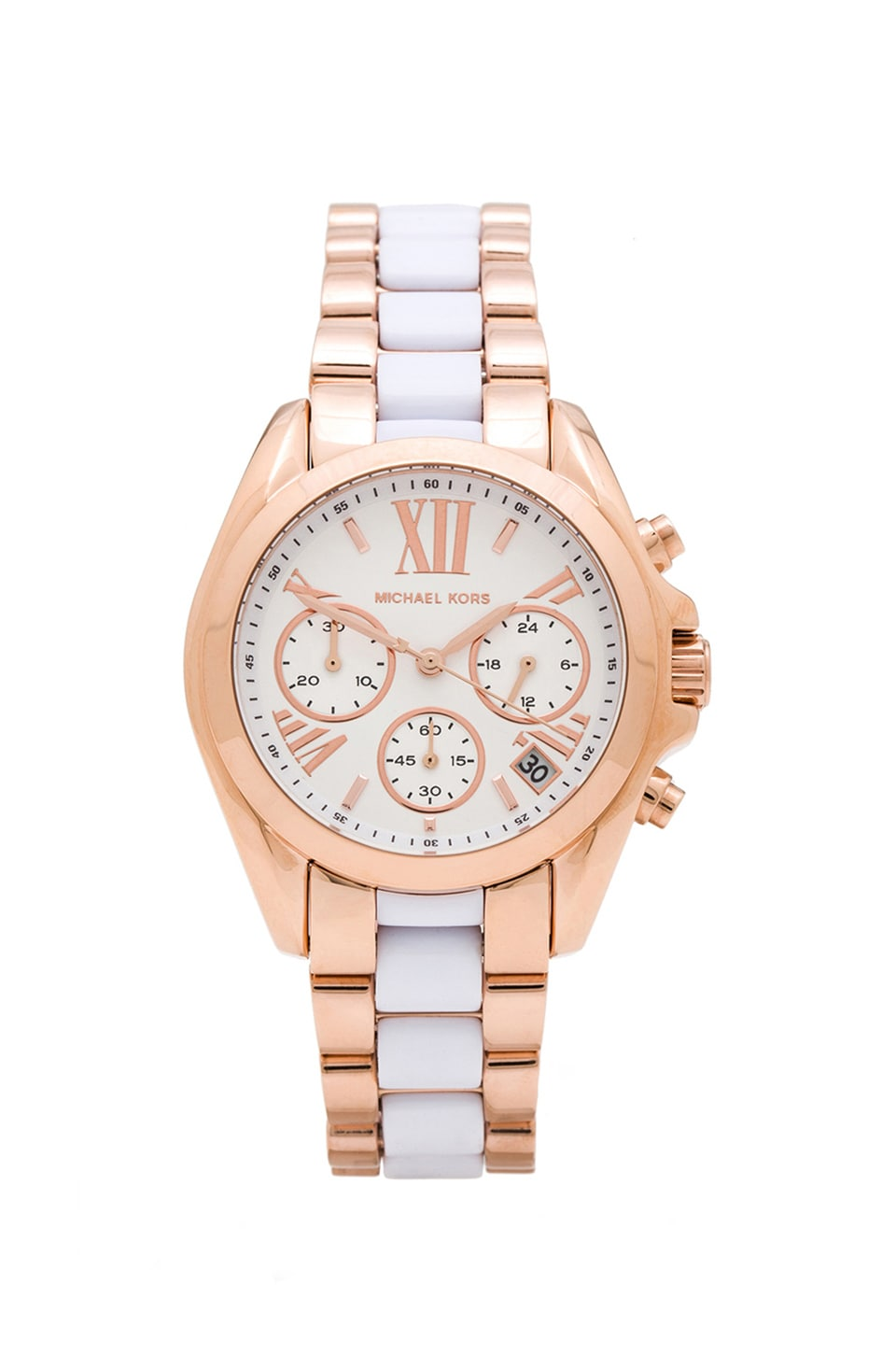 Michael Kors Mini Bradshaw in Rosegold & White