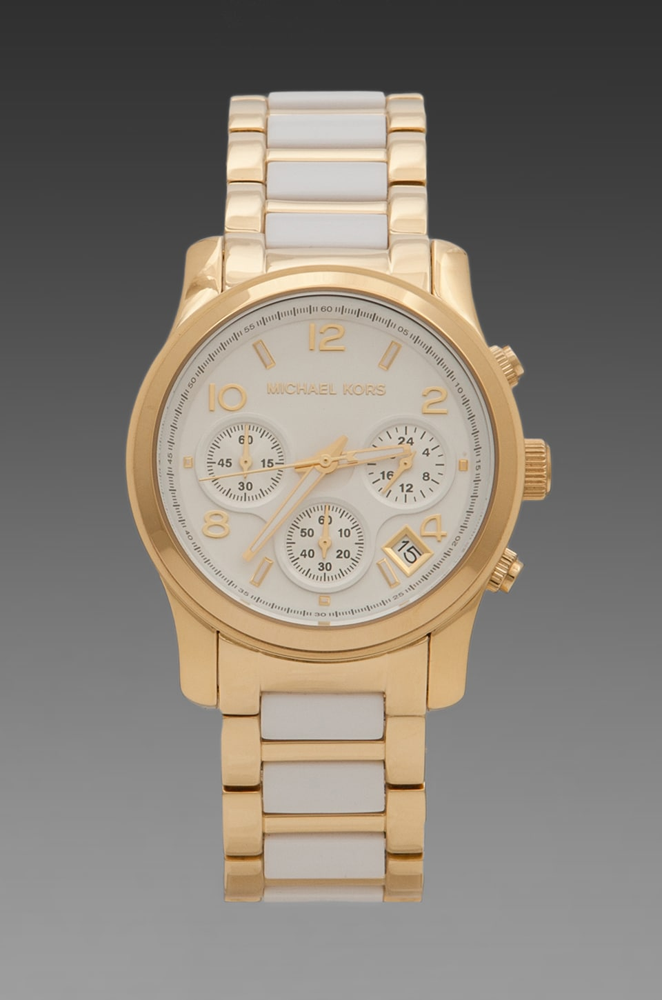 Michael Kors Runway Chronograph in White/Gold