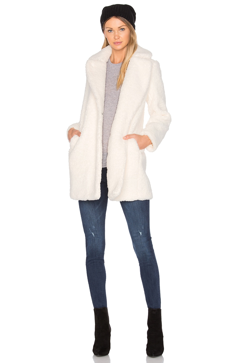 MKT studio Marquise Faux Fur Coat in Ivory