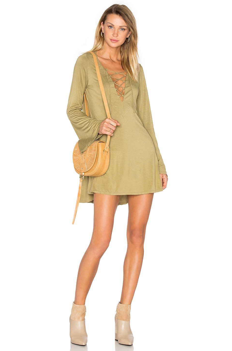 Michael Lauren Jimi Mini Dress in Olive Ash