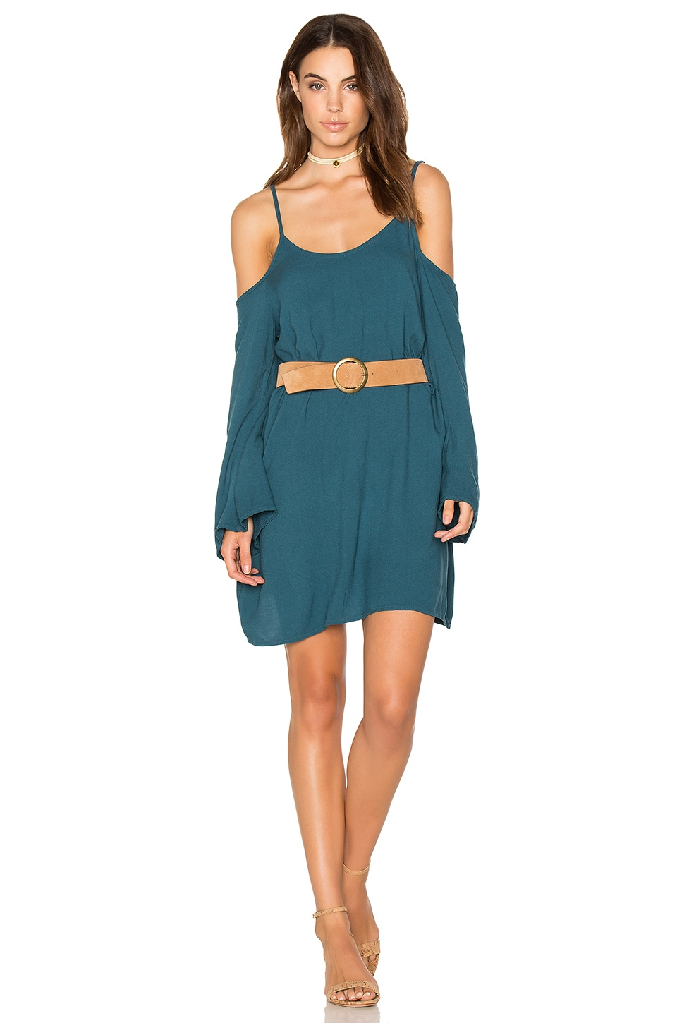 Michael Lauren Gillis Bell Sleeve Dress in Tidepool