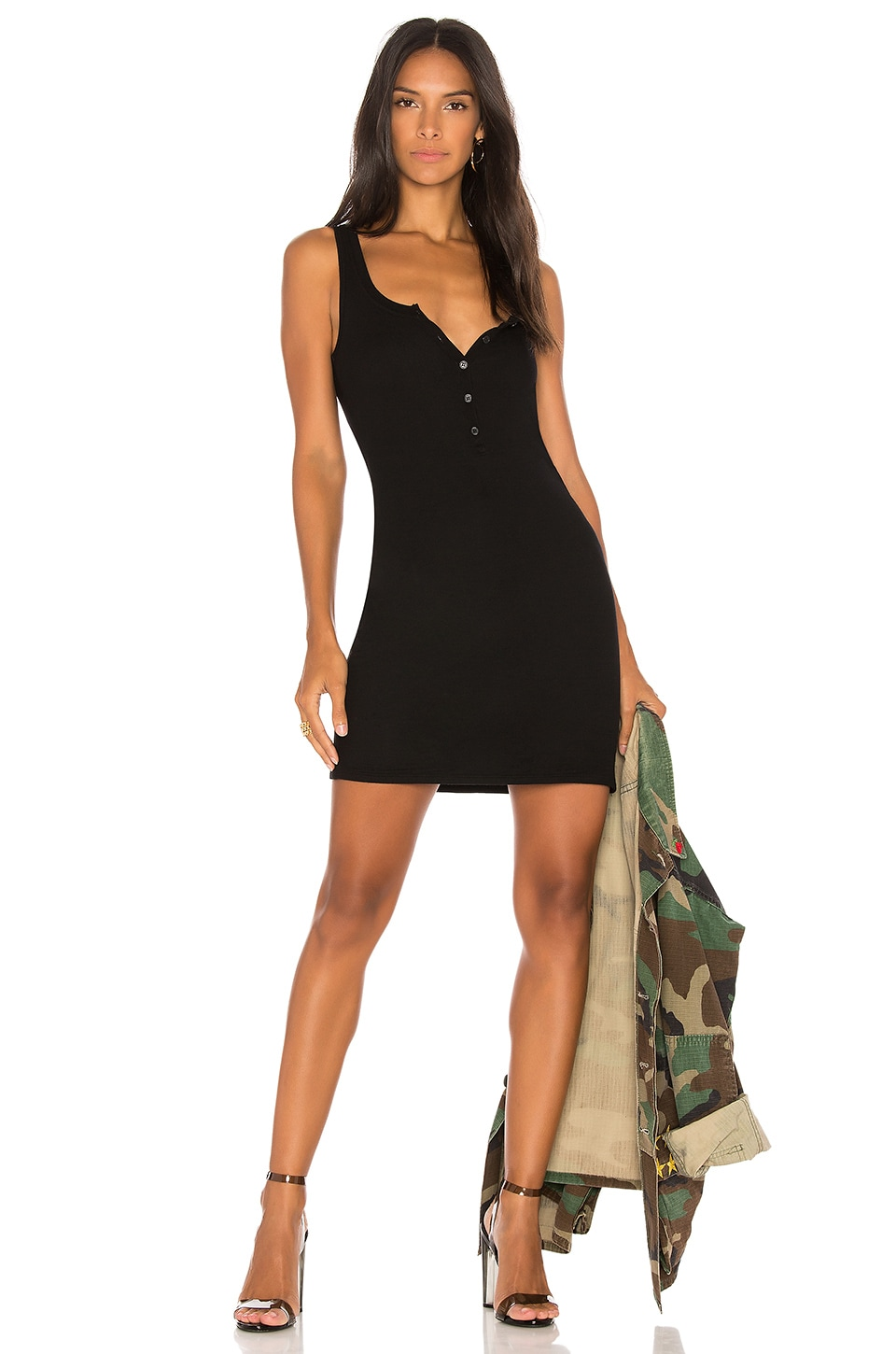 Michael Lauren Runner Tank Dress in Black