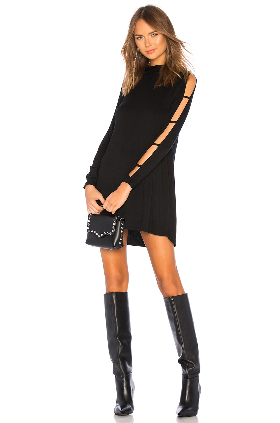 Michael Lauren Akila Slit Sleeve Dress in Black