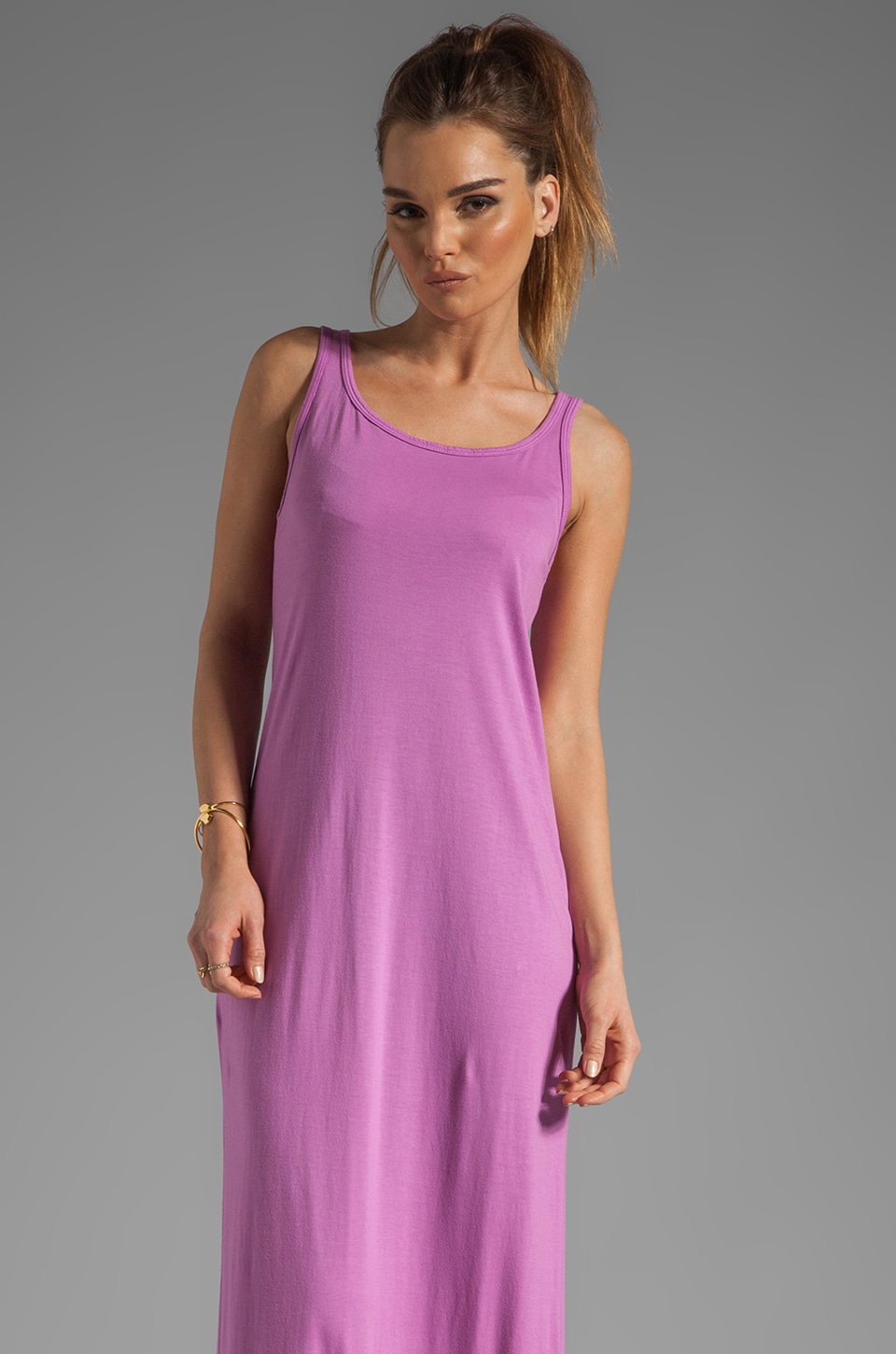 Michael Lauren Edison Long Tank Dress in Berry Blast