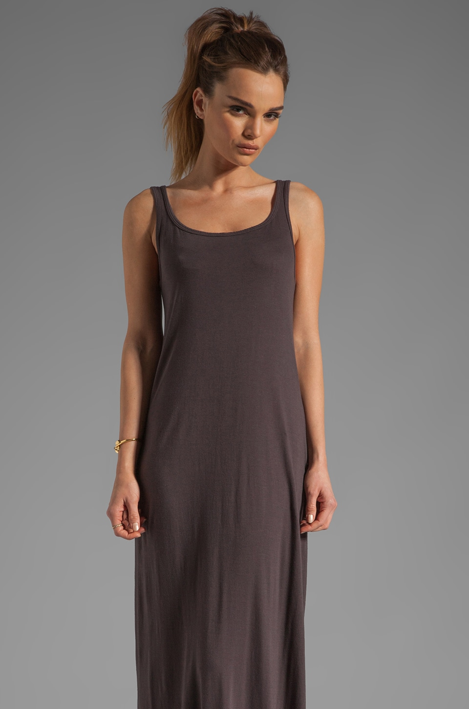 Michael Lauren Edison Long Tank Dress in Coal