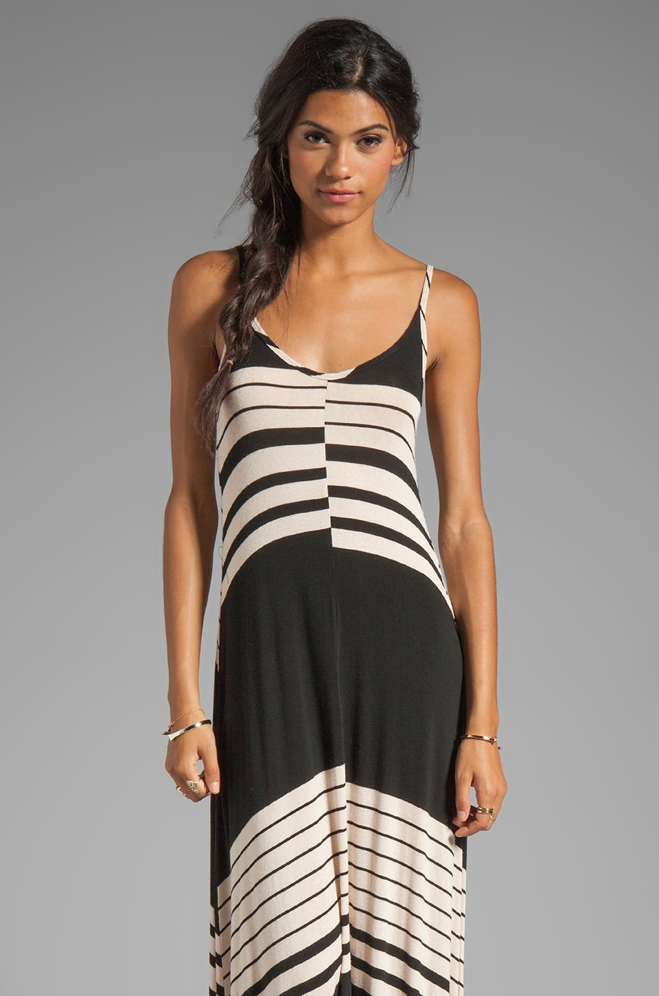 Michael Lauren Miles Long Tank Dress in Buff Stripe