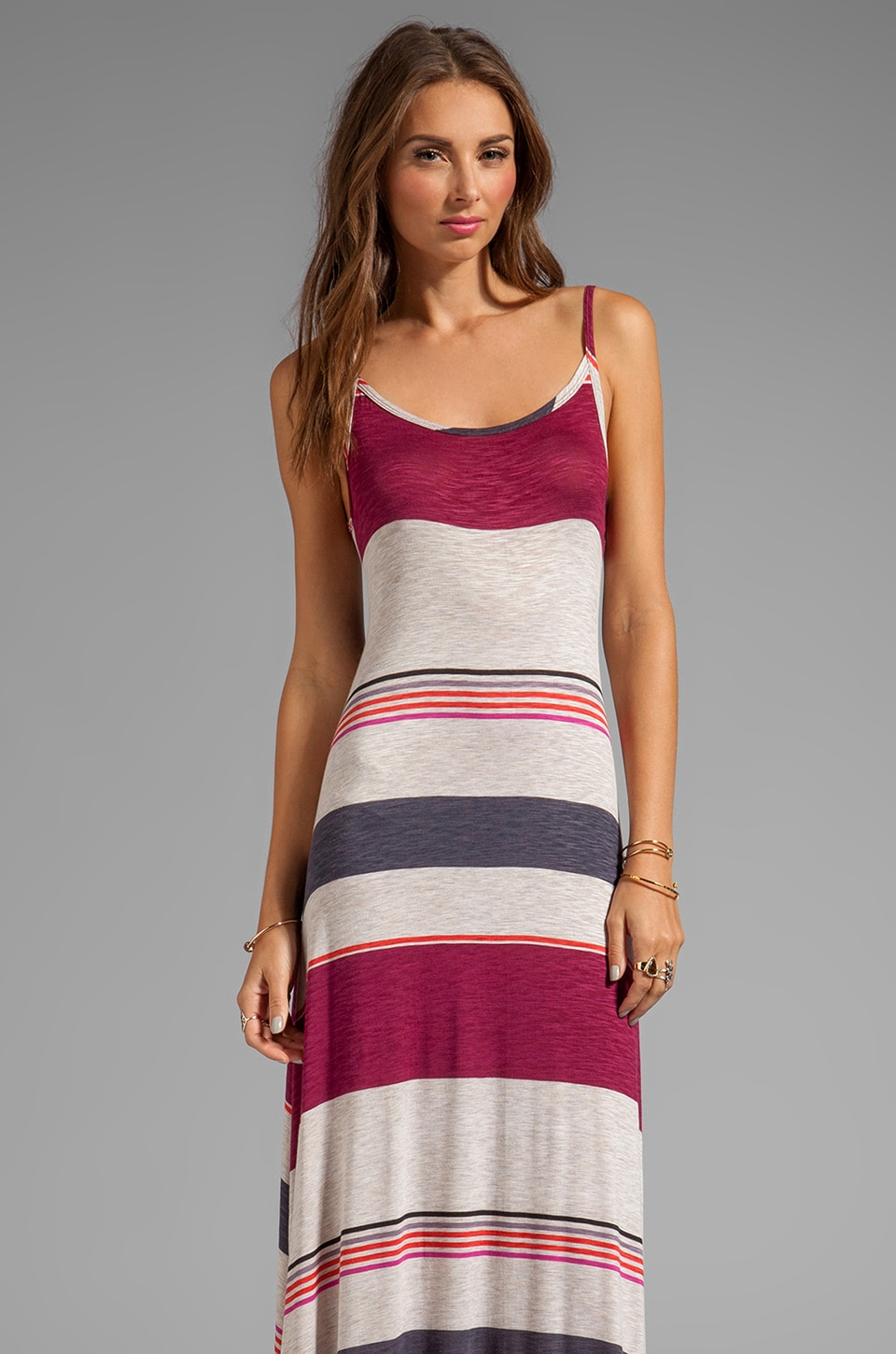 Michael Lauren Miles Reversible Long Dress in Desert Plum Stripe