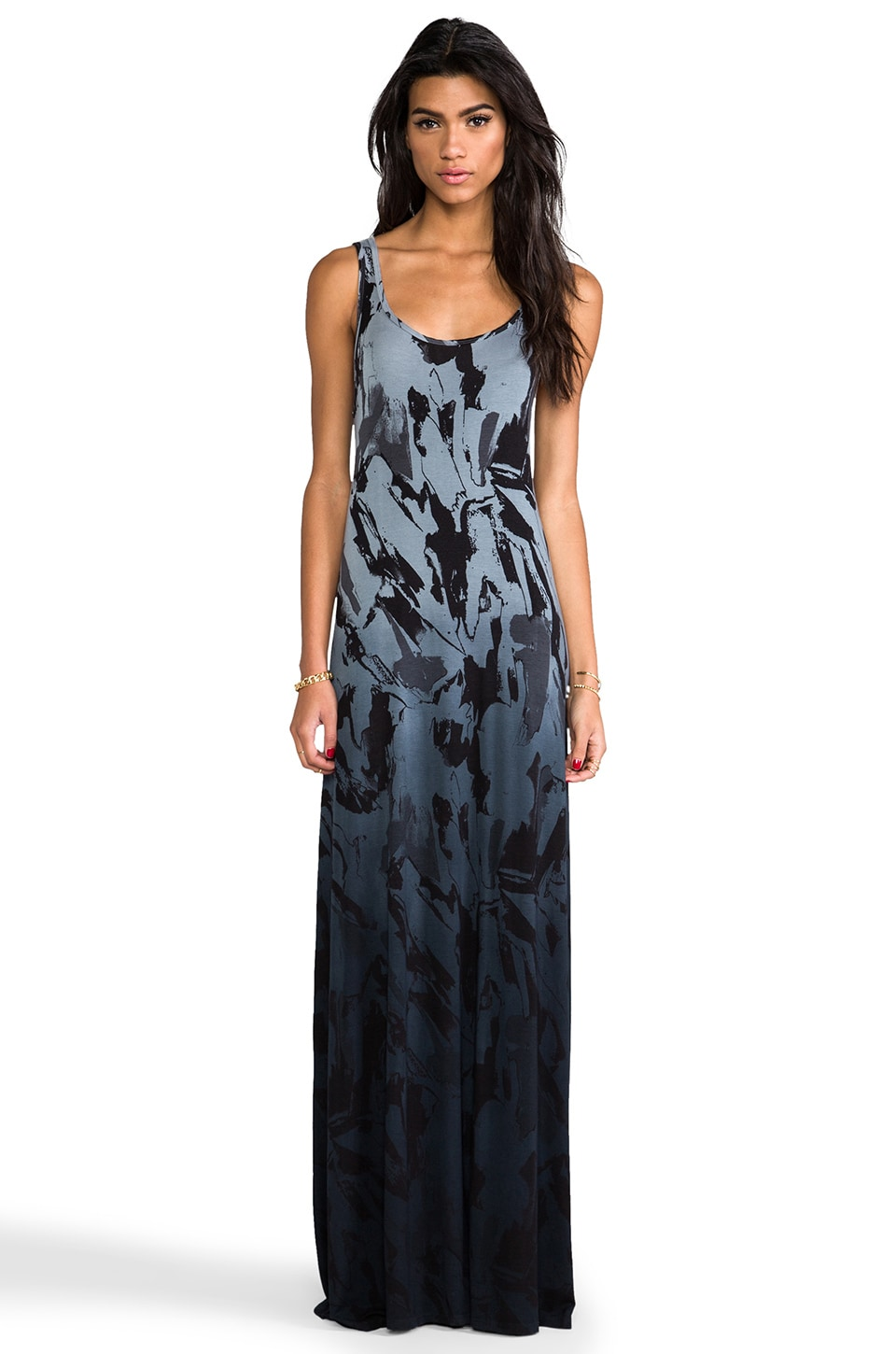 Michael Lauren Pax Tank Maxi Dress in Charcoal Ombre