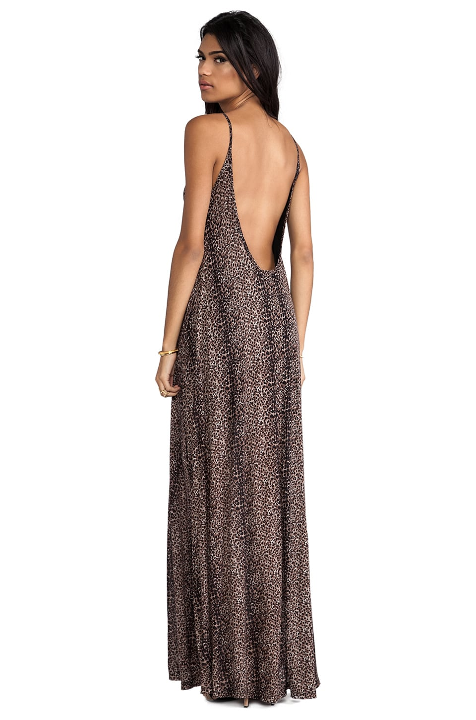 Michael Lauren Gage Deep Back Maxi Dress in Mini Leopard