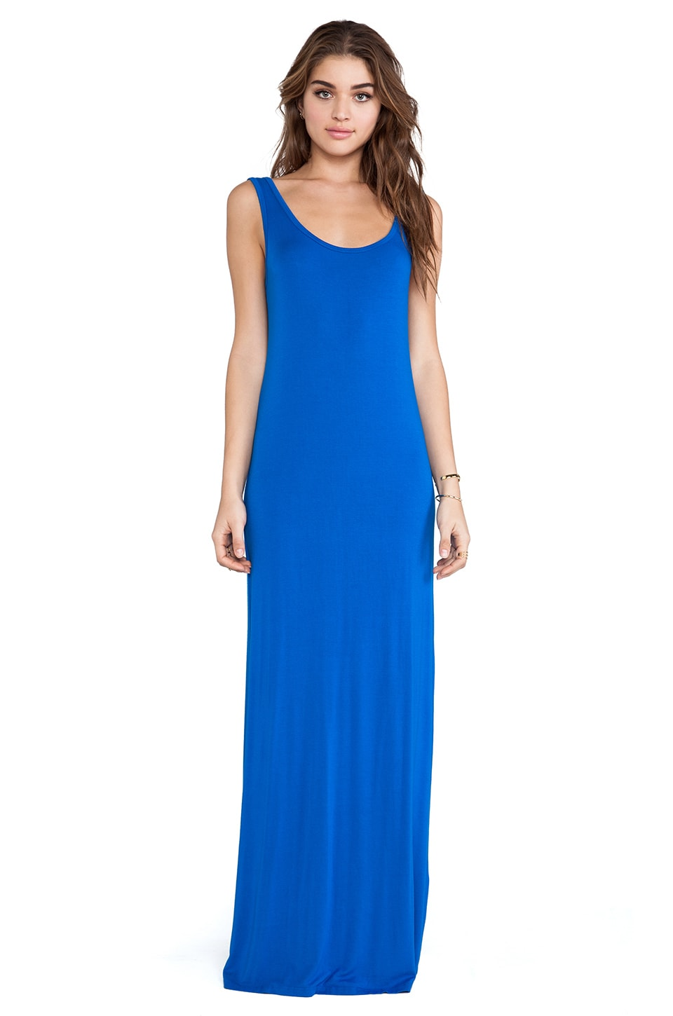 Michael Lauren Langley Deep V Back Maxi Dress in Riviera