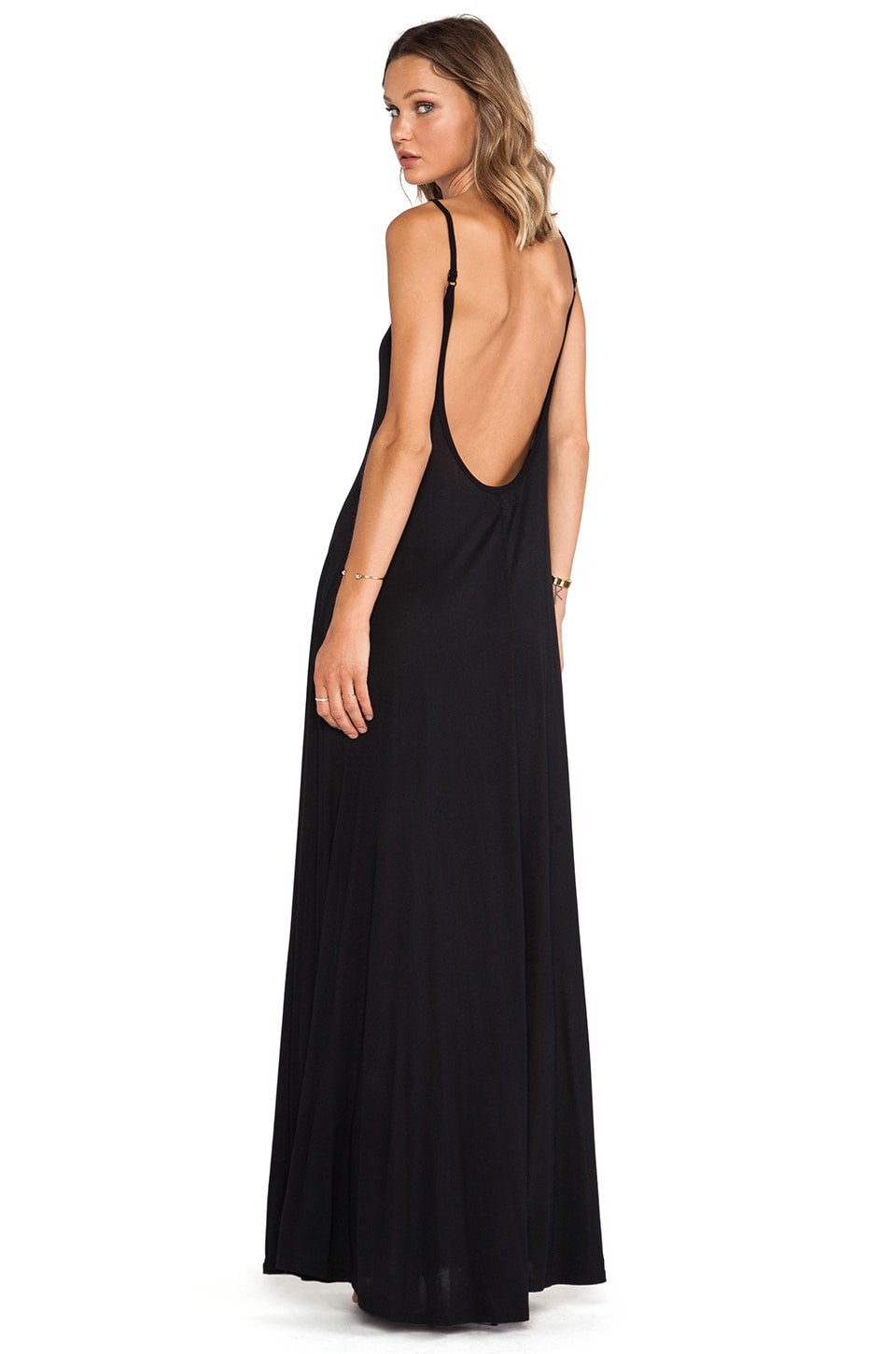 Michael Lauren Gage Deep Back Maxi Dress in Black
