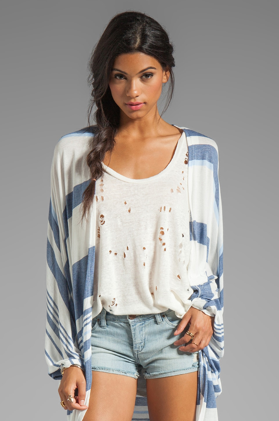 Michael Lauren Easton Wrap Cardigan in Blue Stripe