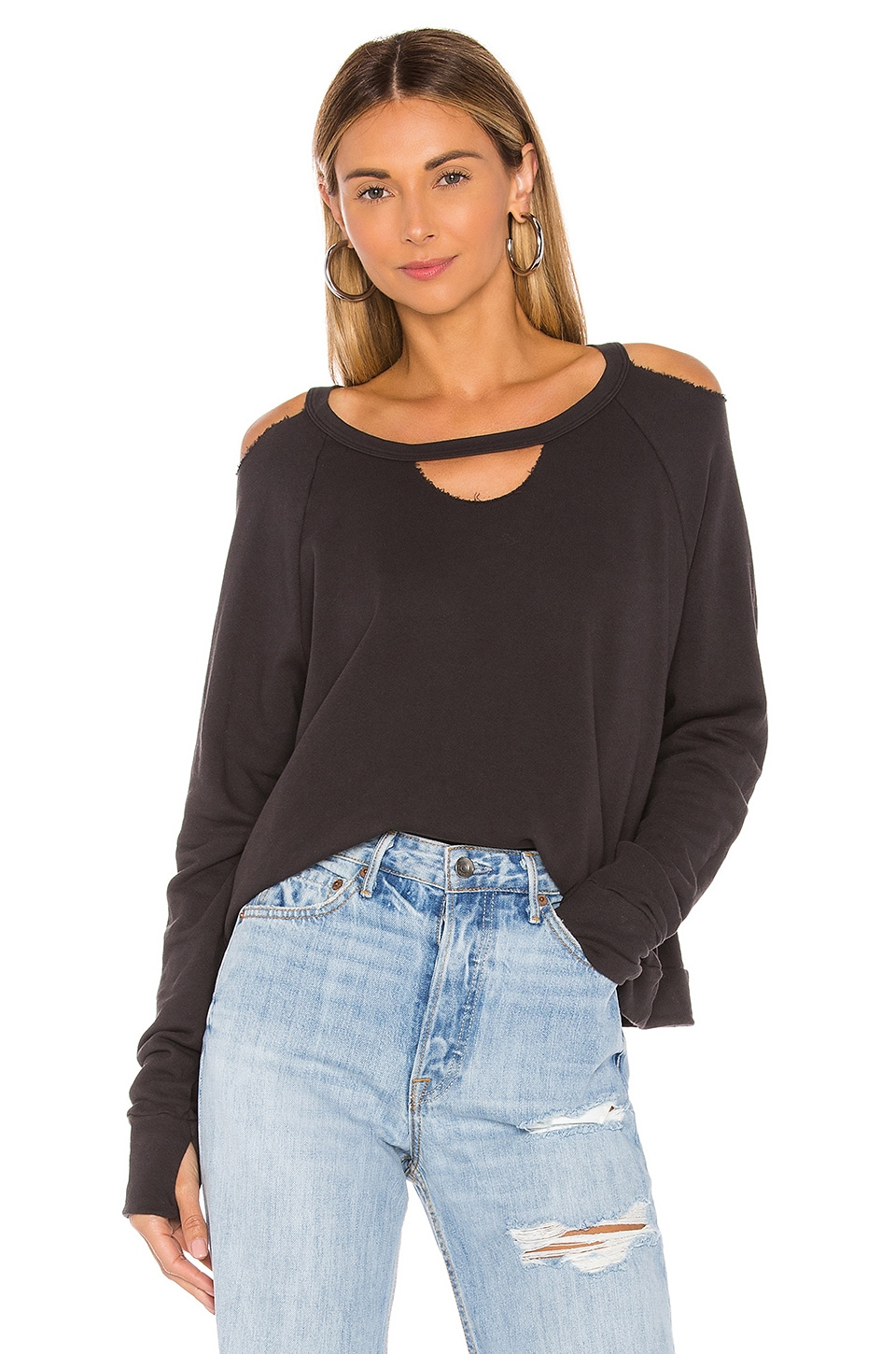 Michael Lauren Fairmont Cutout Neck Pullover in Onyx