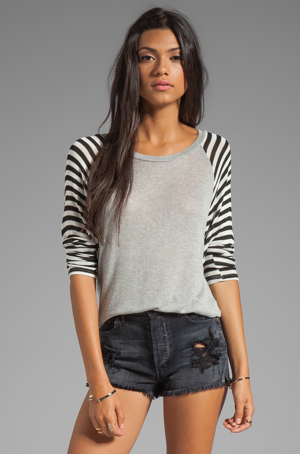 Michael Lauren Rio Striped Raglan Sweater in Heather Grey/Stripe