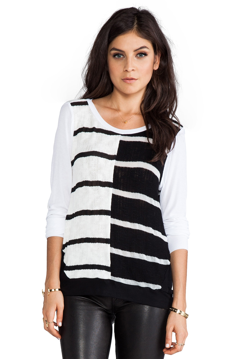 Michael Lauren Vince Long Sleeve Color Block Stripe Open Back en Noir/Blanc