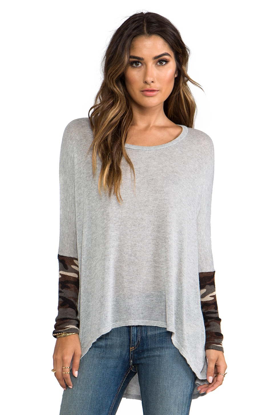 Michael Lauren Wesley Long Sleeve Asymmetrical Sweater w/ Contrast in Heather Gray/ Camo