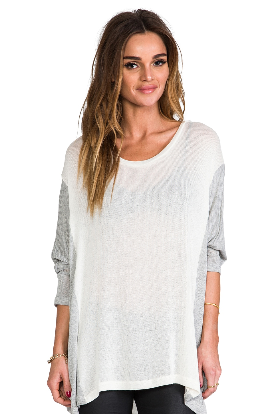 Michael Lauren Boyd Color Blocked Sweater in Natural/Heather Grey