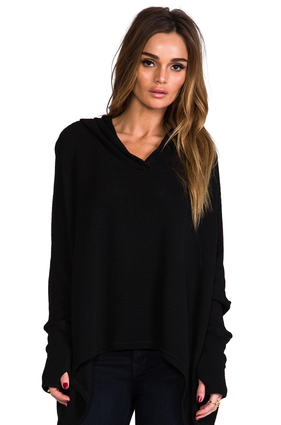 Michael Lauren Dash Knit Sweater with Hood in Black