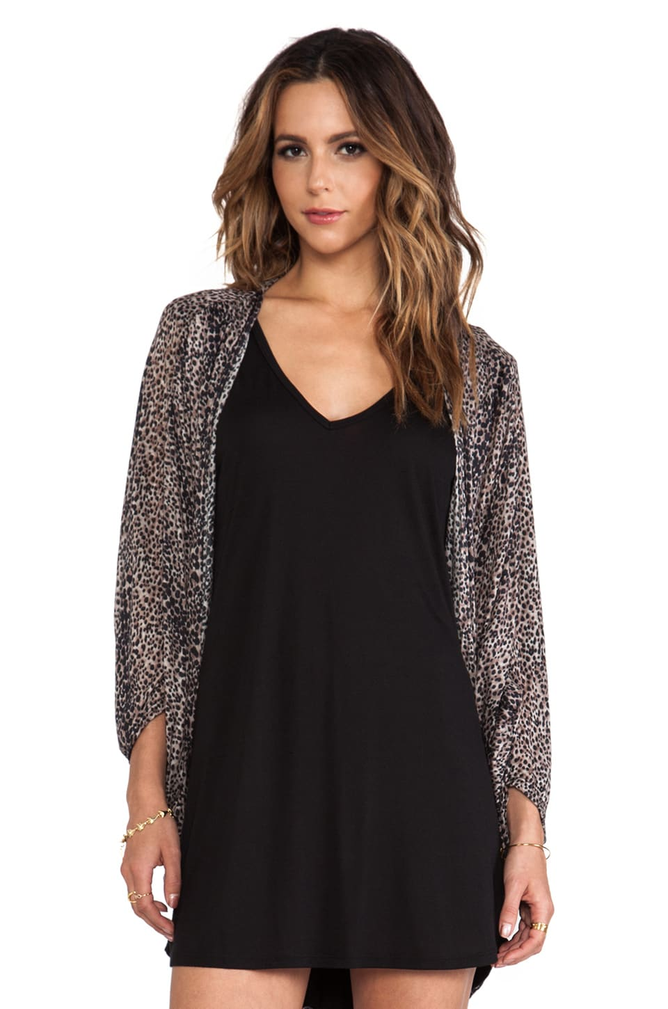 Michael Lauren Freddy Cardigan in Mini Leopard